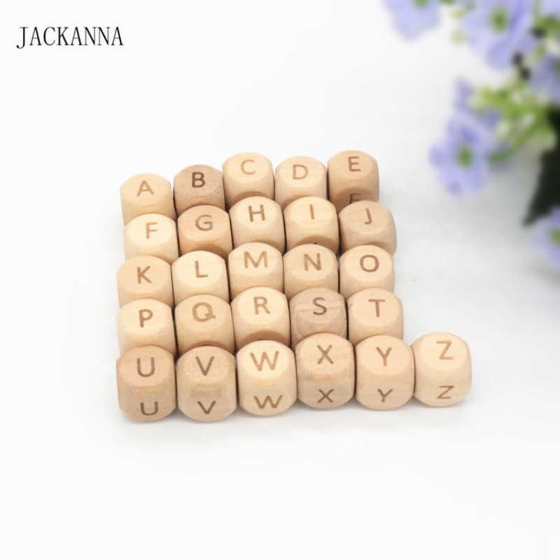 20 pçs 12mm carta grânulos gravar mordedor de madeira talão alfabeto bijtring dentição brinquedo mastigável produto do bebê diy acessórios para bebê