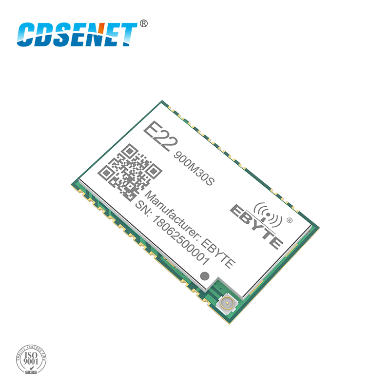 SX1262 1 W transceptor inalámbrico LoRa 915 MHz E22-900M30S SMD agujero sello IPEX antena 850-930 MHz Transmisor de rf y receptor