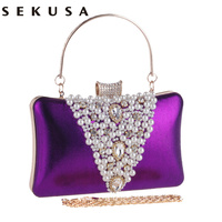 New Arrival V Design Beaded Embroidery Women Evening Bags Rhinestones Lady Luxurious Handbags For Wedding Purse