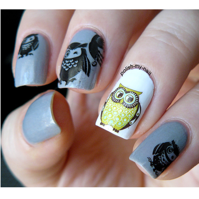 2 Unids Elefante Owl Patrón Nail Art Tatuajes de Transferencia de ...