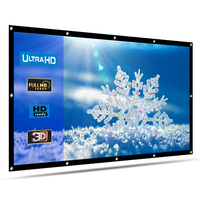 HENZIN Projector Screen Thicken Foldable 120 inch 16:9 Matt White Front Rear Portable Projection Screen for Home Outdoor Theater