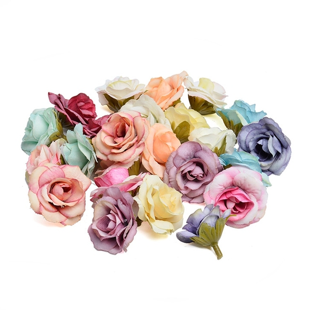 New 10pcs artificial flower 4cm silk rose flower head wedding party home decoration DIY wreath scrapbook gift box craft 4