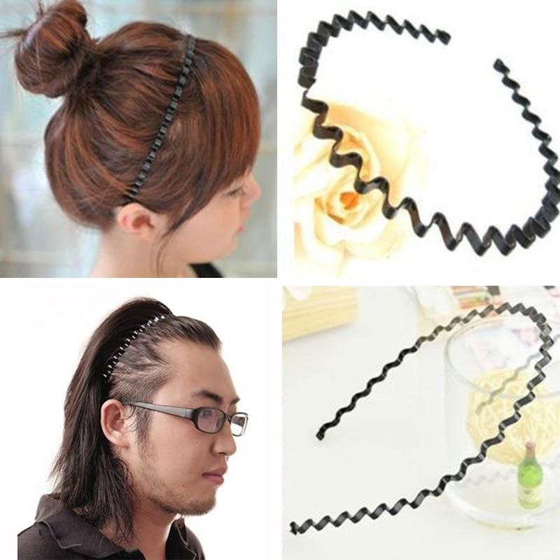 2 X Mens Women Unisex Black Wavy Hair Head Hoop Band Barrette Headband Hairband  Hair Band Accessories xth171-in Women s Hair Accessories from Apparel ... 89076389d1a