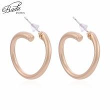 Badu Small Metal Stud Earring Punk Style Matte Gold/Silver Earrings 2018 Korean Fashion Jewelry Gift for Girls Wholesale