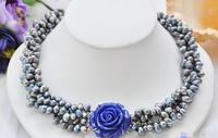 FREE SHIPPING>@@> 3881 4row black rice freshwater pearl necklace blue flower