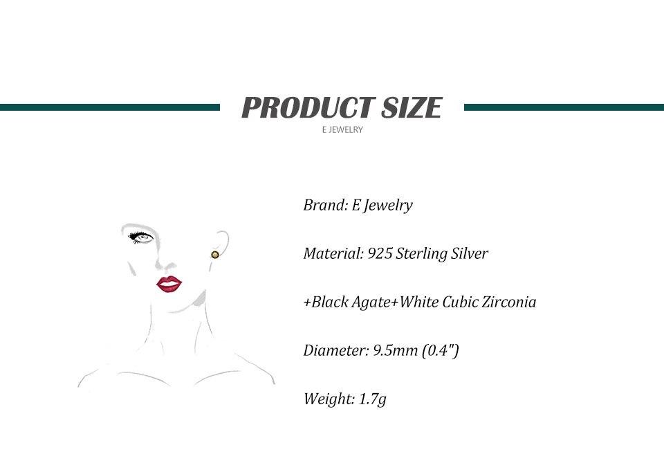 18K Gold Plated 925 Sterling Silver Star Stud Earrings for Women Black Agate  Gemstones Silver 925 Korean Studs Earings 2019