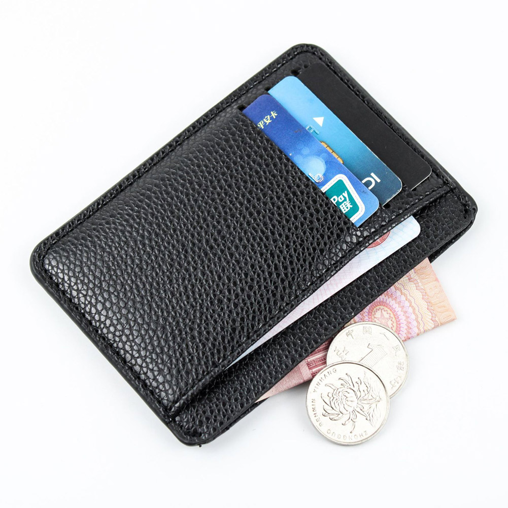 Men Card Holder PU Leather Mini ID Card Holders 6 Cards Slot Ultra-thin Lichee Pattern Wallet Busines Credit Card Storage Wallet