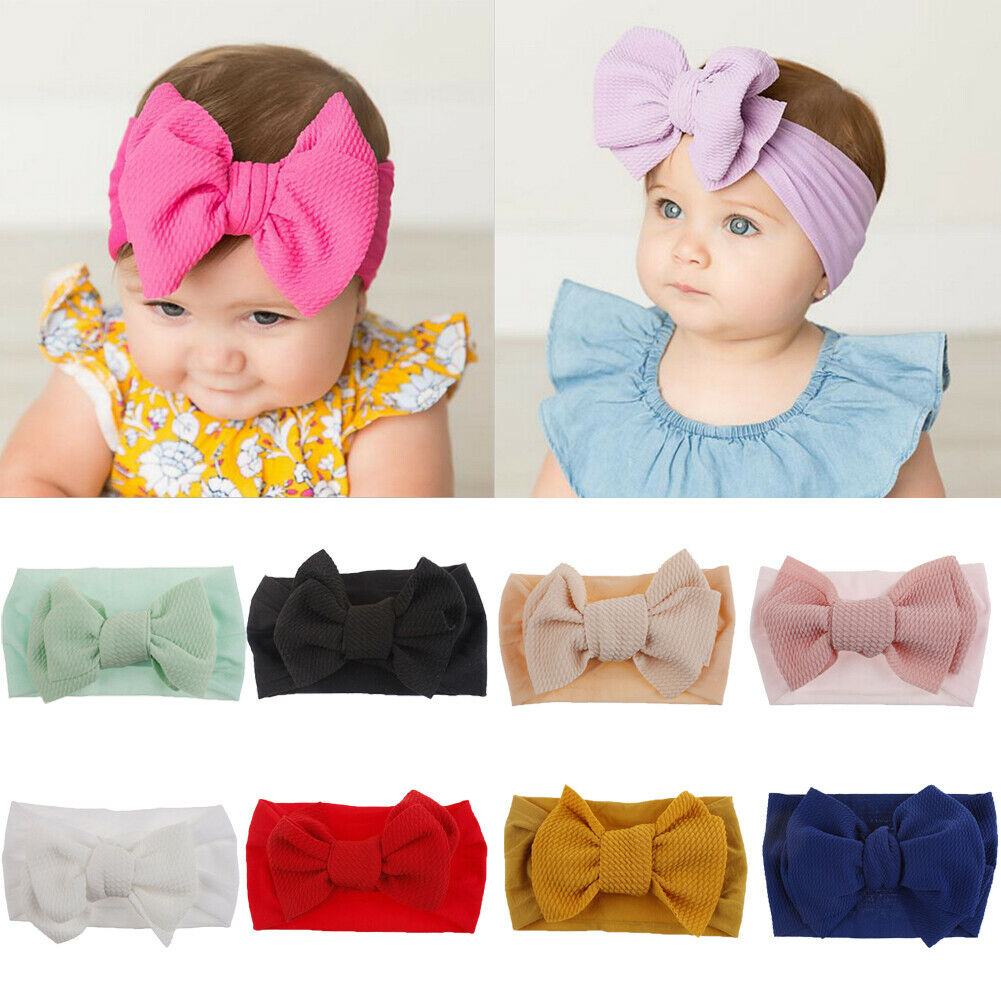 10 Colors Toddler Baby Girls Headwear Big Bowknot Solid Color Turban Headband Cute Hair Accessories Lovely Gift for Baby Girls in Hair Accessories from Mother Kids