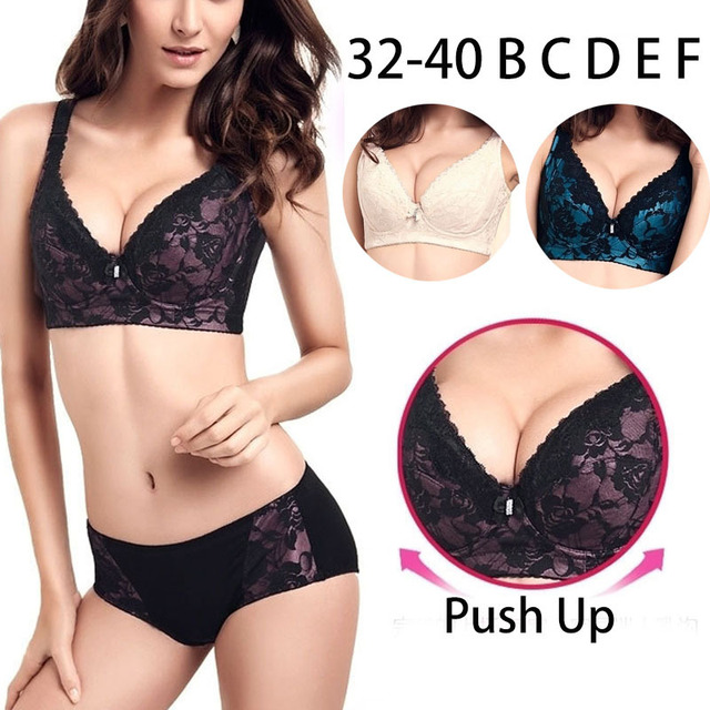 93e73c0ddf High Quanlity Women Bra Set Panty Short Sexy Push Up Adjustable Bras Lock  Fat Large Cup Thin Cup 3 4 B C D E F Cup Underwears