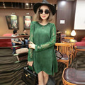 Women Winter Europe Suede Type A-line Big Swing Dress Sexy Hollow Out Lace Sleeve  Female Dress O-neck Dress Winter TT268