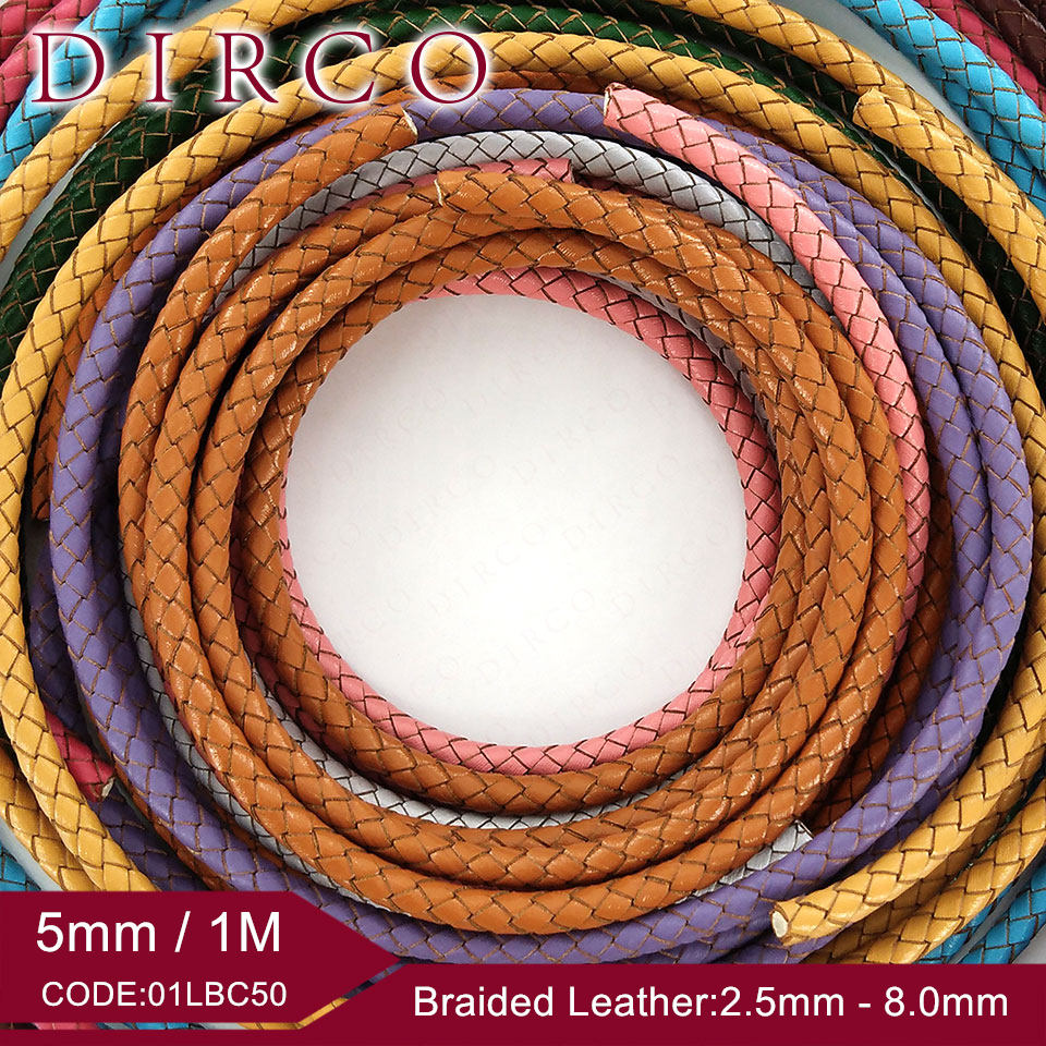 About the Fit 5mm 1Meter Genuine Braided Leather Cord Edge Cutting Real Leather HandCrafts Beading Accessories Lacing Woven Rope
