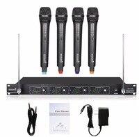 STARAUDIO Professional Black PA DJ Stage Church 4 Channel VHF Wireless Handheld Microphone KTV Club Party Mic System SMV 4000A
