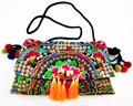 Hmong Tribal Ethnic Thai Indian Boho shoulder bag messenger embroidery pom charm trim SYS-524C
