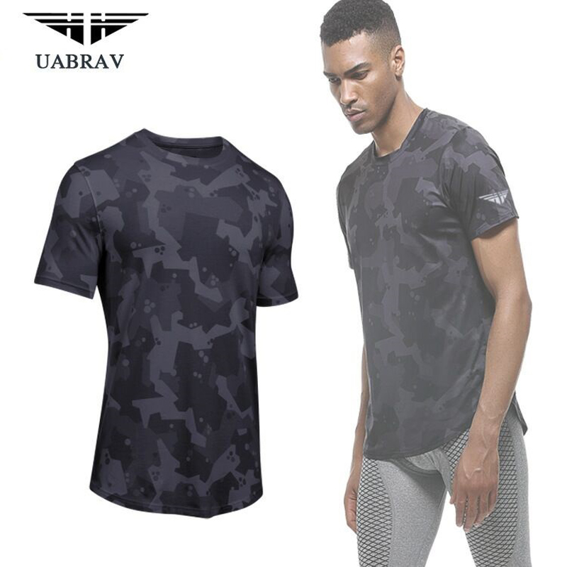 Mens Camouflage Running Short T-Shirts GYM Fitness Bodybuilding Compression Tights Basketball Tee Tops Football Soccer Shirts