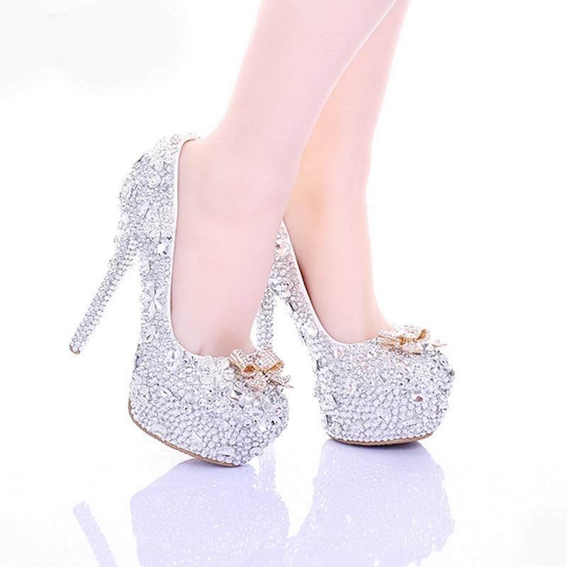 Heels Chaussures Mince 10cm Cm Occasion Mariage Bal Hauts Mariée Talons silver 14 Bout 14cm Formelle Rond Talon Strass Cendrillon De Heels Silver 12cm Cristal Y2WEHDbe9I