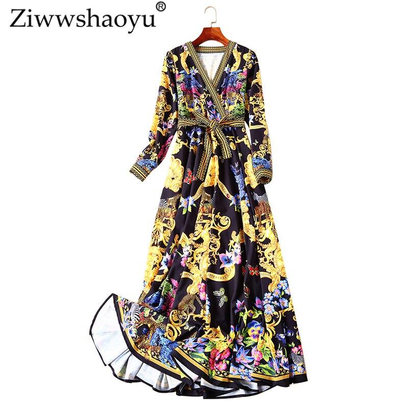 Haut de gamme v-cou élégante Maxi robe Vintage imprimé ceintures tempérament grand pendule longues robes 2019 printemps et été nouvelles femmes