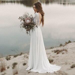 Image 4 - Robe De mariée en dentelle style bohème, manches longues, dos nu, Illusion, Robe De mariée pour la plage, pas cher, personnalisée, 2020