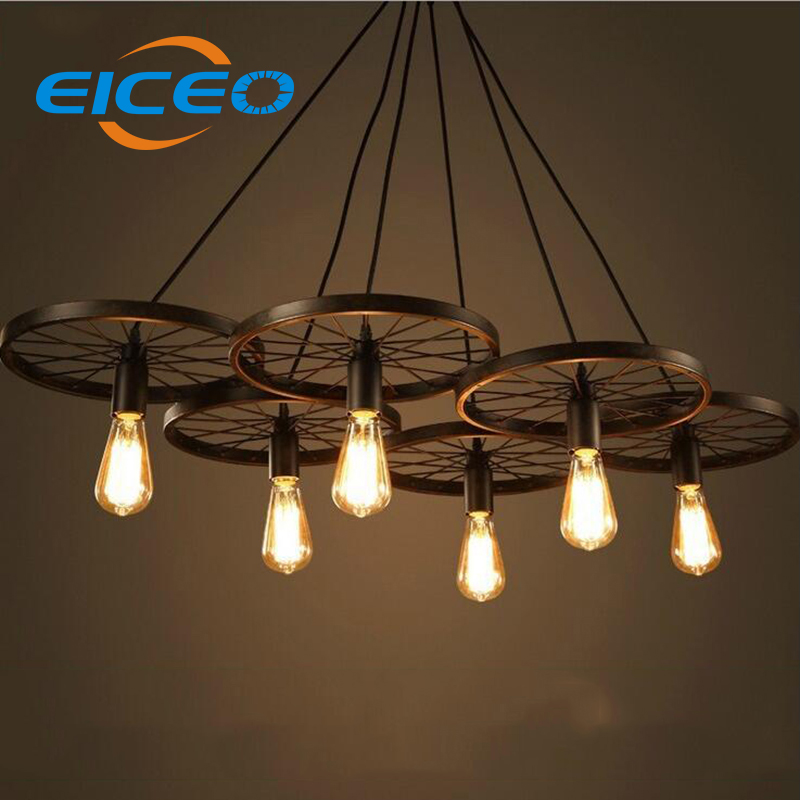 (EICEO) decorating dining rooms Restaurant American Wrought iron Chandelier Round  Pendant  Hanging Lamp Droplight LED