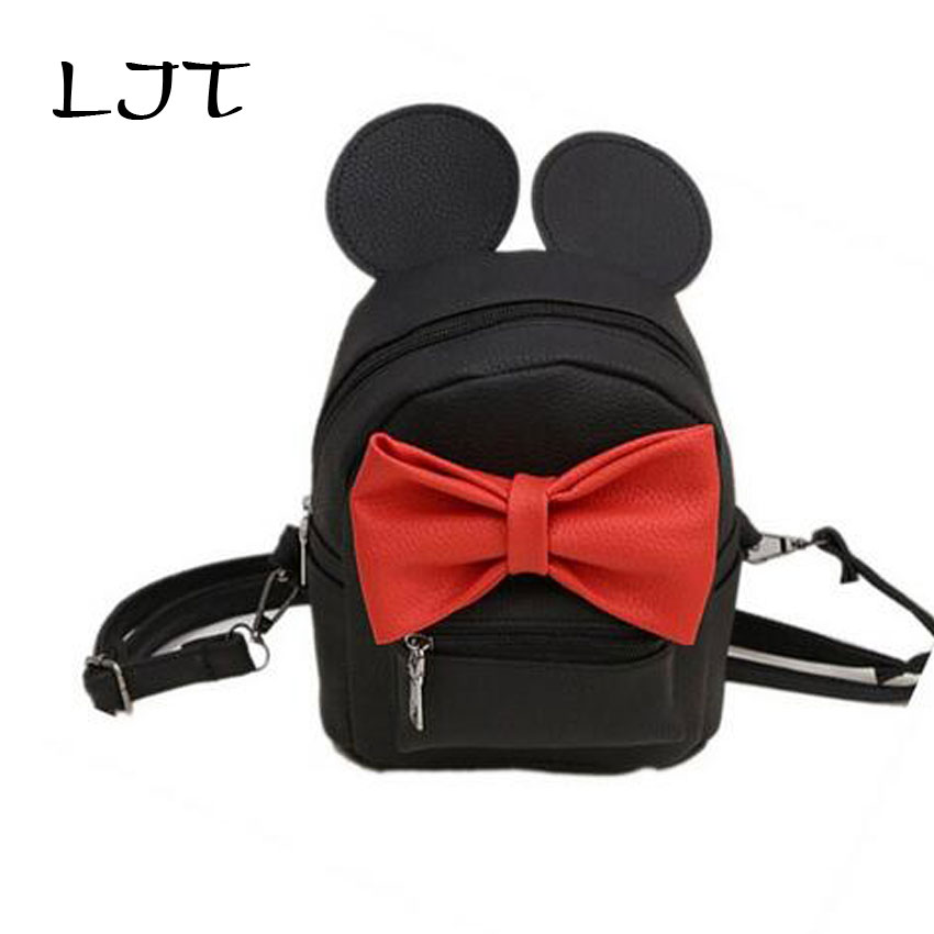 LJT New Mini Backpack Female Shoulder Bag Cute Ear Sweet Bowknot Multi-purpose Teen Girls School Bag Rucksack Mochila Feminina