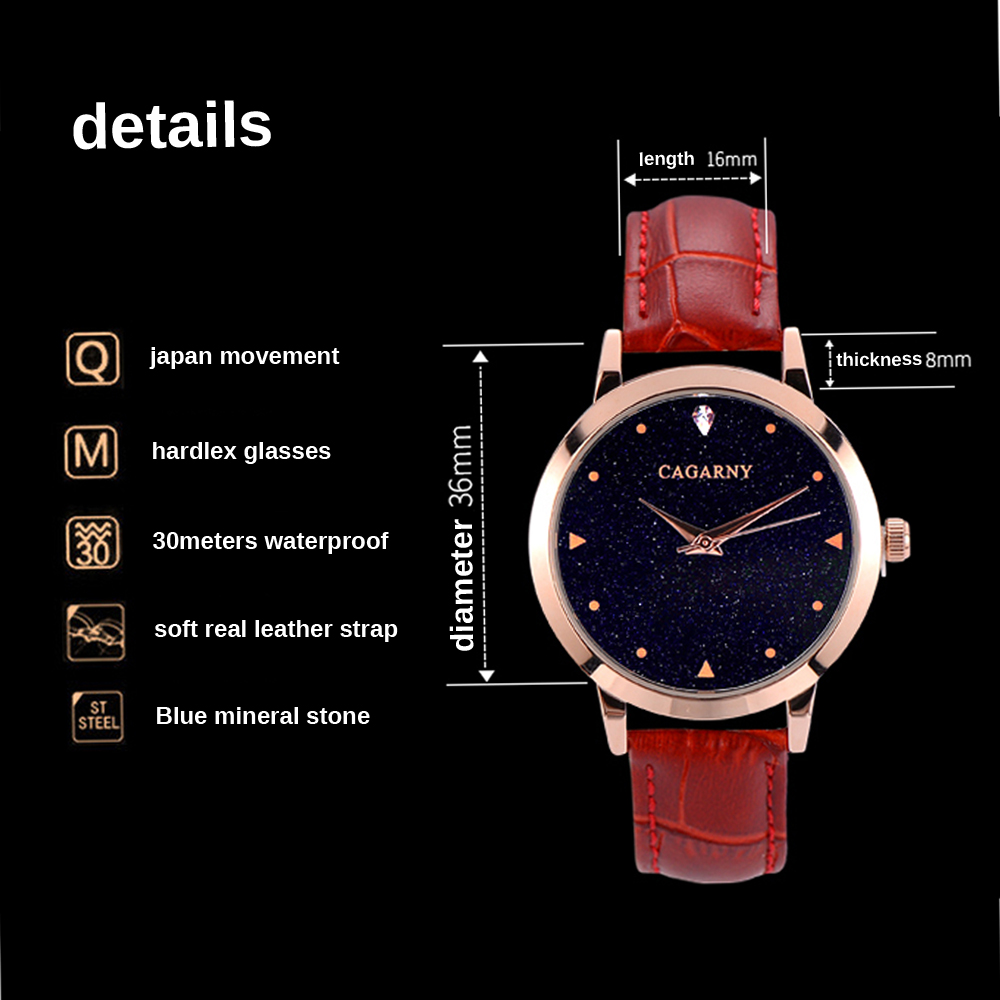 luxury brand cagarny quartz watch for women blue sky dials creative casual ladies watches rose gold case drop shipping (37)
