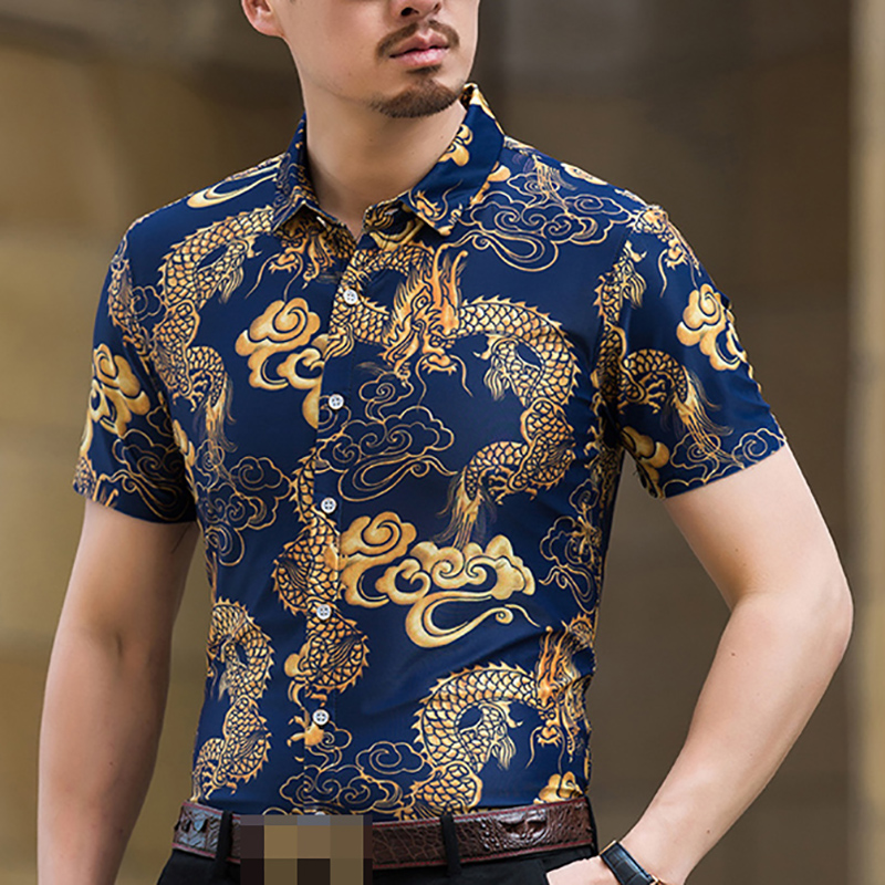 63d68a30e22 Hawaiian Shirt Men Summer 2018 Fashion Floral Shirts Slim Fit Plus Size  Business Printed Dress Short Sleeve Male Shirts For Men-in Casual Shirts  from Men s ...