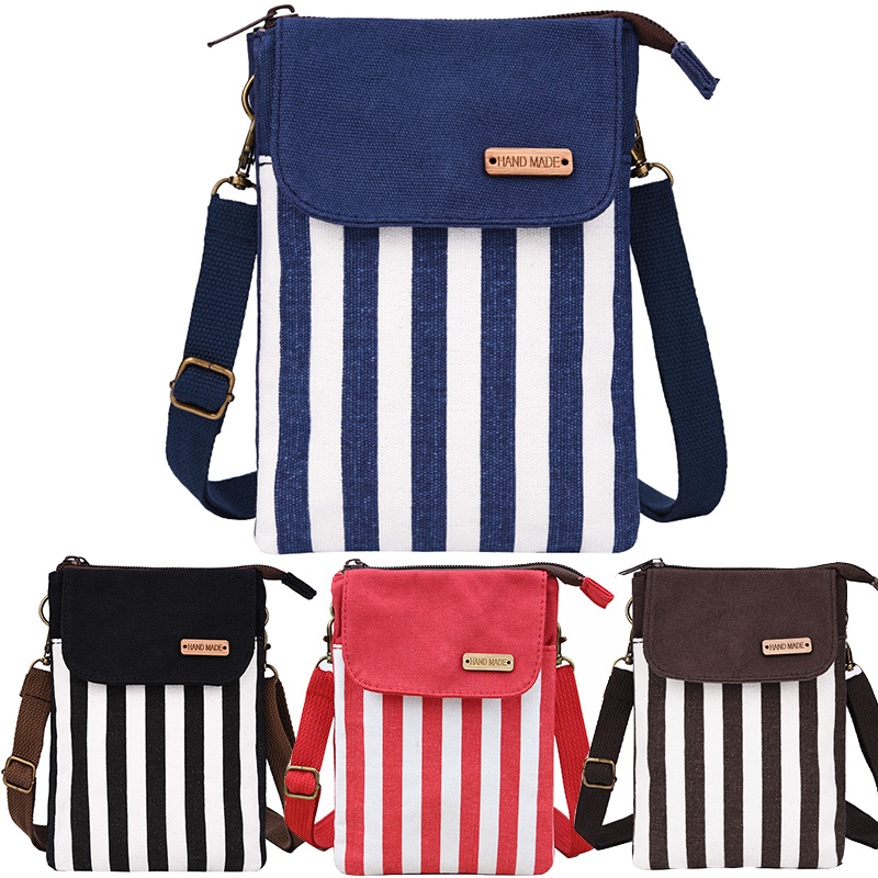 e6daf6f949dd Women Canvas Cross Body Bags Flap White Stripes Messenger Bag Girls  Shoulder Bag Phone Ladies Mini Purse Zipper Female Handbags