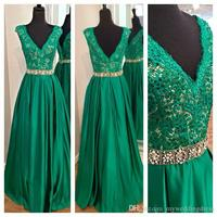 2016 Emerald Green Lace Prom Dresses Long Sexy Pageant Gowns Formal Party Dress V Neck