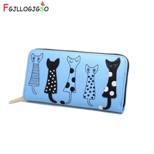 FGJLLOGJGSO Brand zipper long wallet women Embroidery sweet cat leather wallet female wallets and purses lady money bag carteira