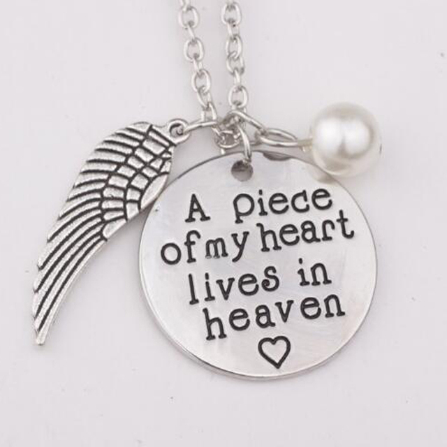 900dff6da9683 US $3.28 |A piece of my heart lives in heaven Charm Hand imprint  Remembrance Loved Necklace Christmas Gift Jewelry Inspirational Necklace-in  Pendant ...