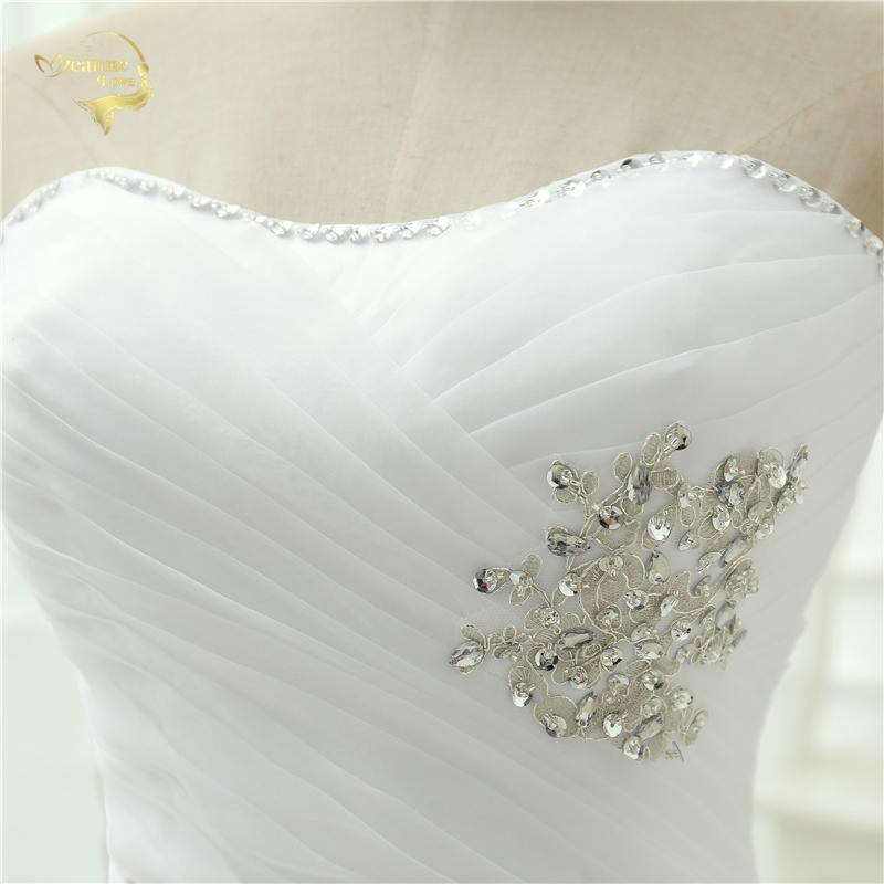 Vestido De Noiva 2017 New Shiny Organza Women Bride Sweetheart Beading Front Short Back Long White Ivory Wedding Dresses OC3399 7