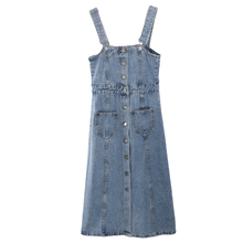 Denim Dress 2019 Summer Slim Casual Strap Jeans Dress Women Preppy Suspender Denim Sundress Denim Overall Dress buttons casual denim bodycon dress summer outfits for women sleeveless sexy strap jeans dress midi overall ladies dress sundress
