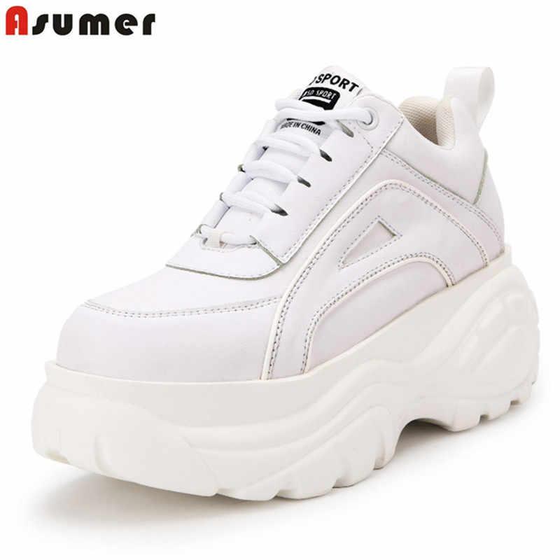 ASUMER 2020 ilkbahar sonbahar kalın alt kadın ayakkabı lace up yuvarlak ayak platform ayakkabılar katı beyaz bayanlar platformu ayakkabı