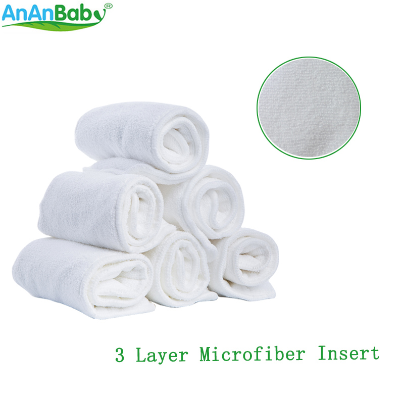 Reusable White Baby Cloth Diaper Liners 3 Layer Microfiber Inserts Breathable Diaper Absorbent Insert