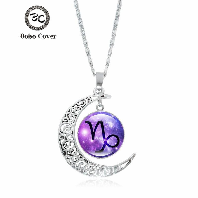 12 Constellation Glass Cabochon Secret Pendant Necklace Vintage Crescent Moon Accessories Chain Necklace For Women Jewelry
