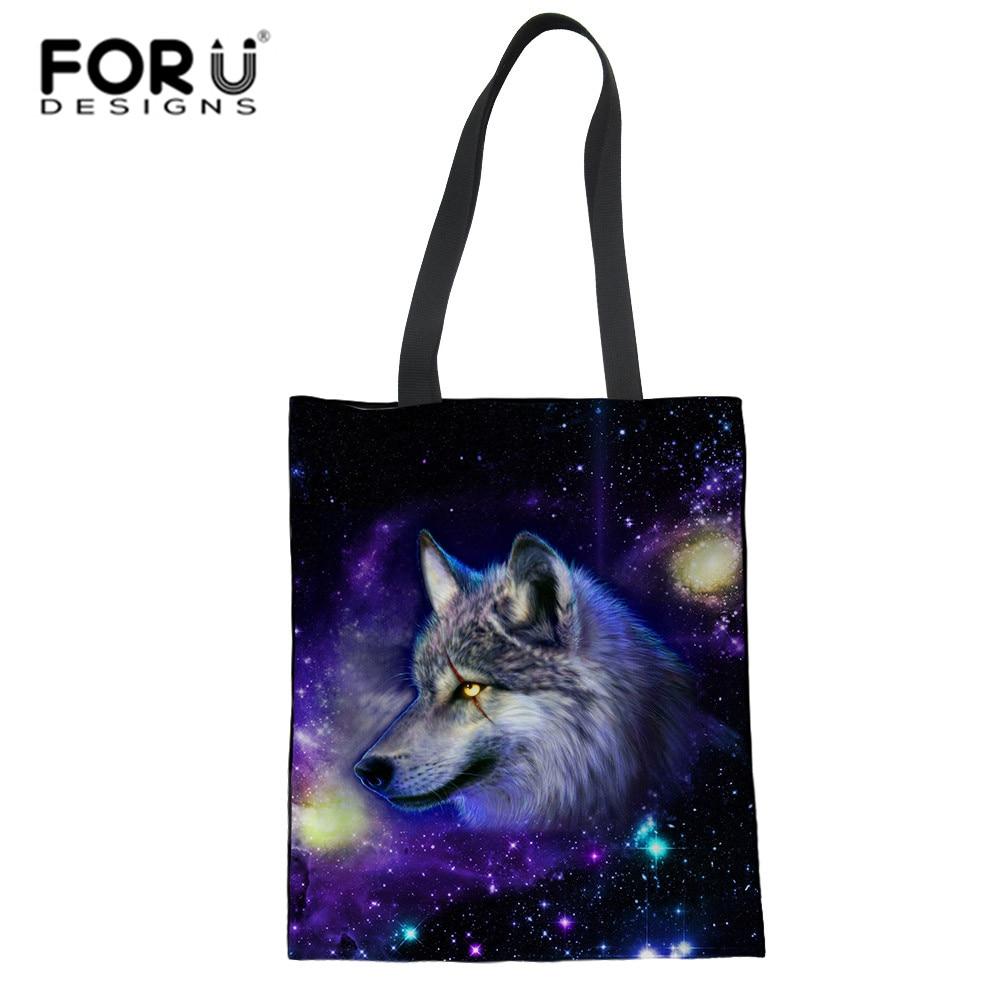 3D Galaxy Wolf Print Shopping Bag Foldable Eco Reusable Shoulder Bags Animal Tiger Travel Totes ping