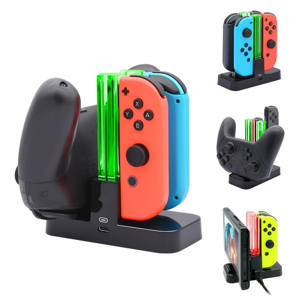 Pro Controller and Joy-con Charging Dock Stand Station for Nintend Switch with Charging Indicator