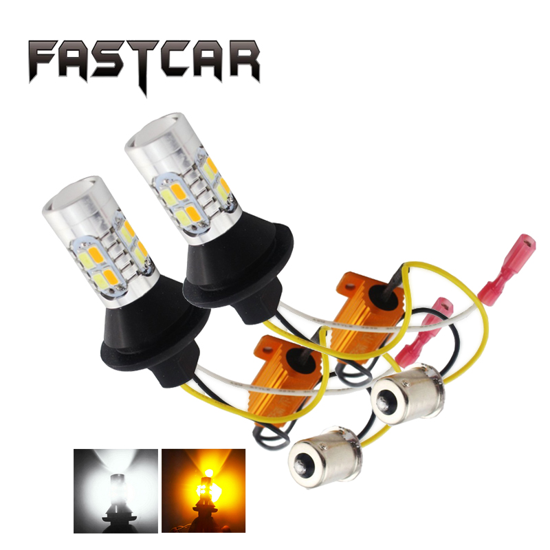 Super Bright 1Set 1156 P21W BA15S 5730 20SMD Amber/White Switchback LED Bulbs SMD 1073 S25 DRL Turn Signal Light 12V Dual Color
