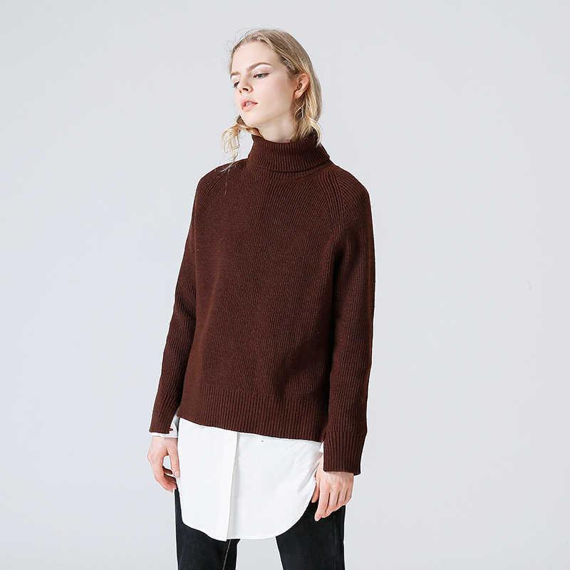 Toyouth Slim Sweater mujeres 2019 otoño primavera suéter tejido Patchwork manga larga cuello alto suéter tejido mujer suéteres