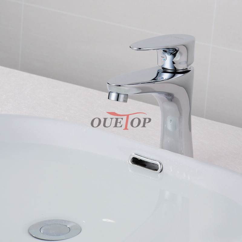 Brass Bathroom Single Handle Mixer Tap Chrome Finished: Modern Bathroom Products Cheap Solid Brass Chrome Finished