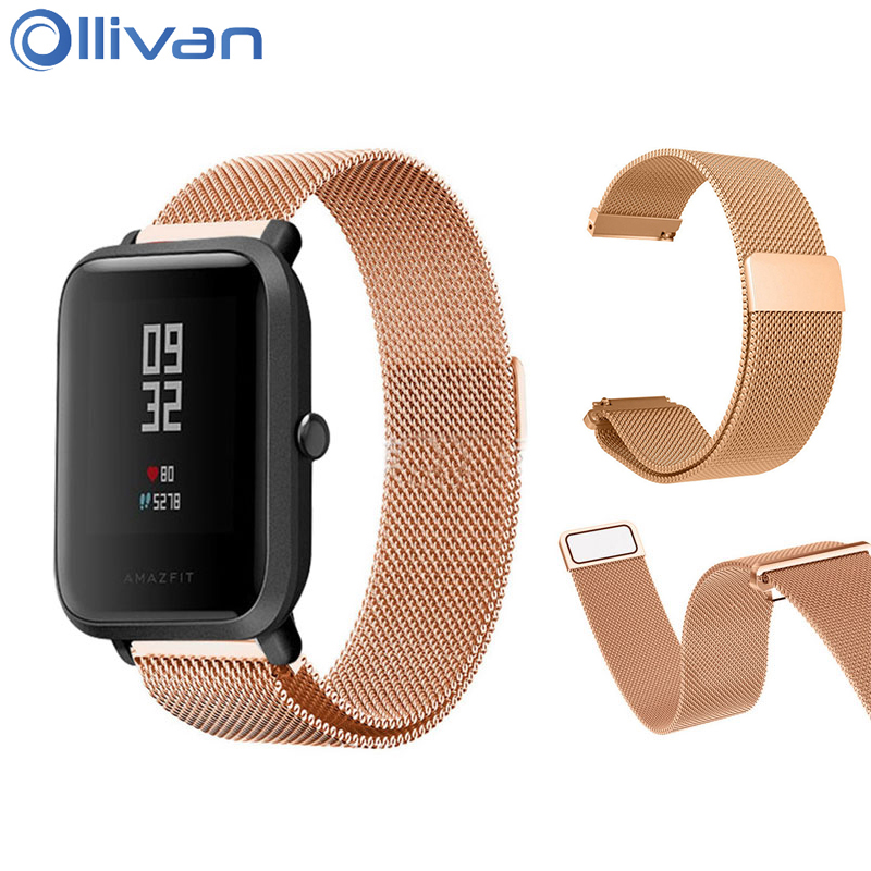Ollivan Milanese Magnetic Metal Strap For Xiaomi Huami Amazfit Bip Youth Lite Replacement Stainless Steel Watchband 20 MM Strap