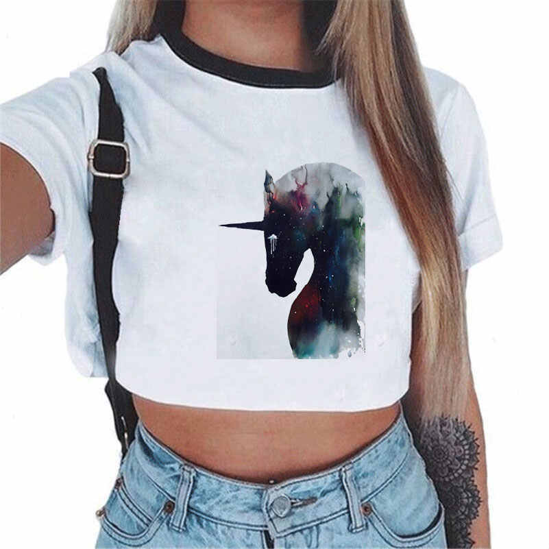 CDJLFH 2018 Women Tees Sexy Crop Top Shirt Fashion Unicorn Theme White T-shirt Short Sleeve Round Neck Top Shirt S M L Size