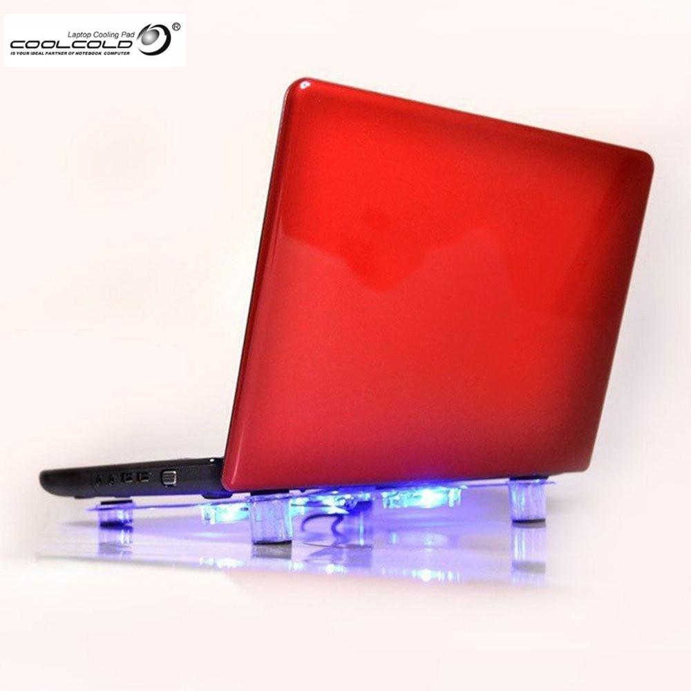Blue Light Super Cool 5 Fans 2 Usb Laptop Cooler Cooling Pad Base Kipas Pendingin Universal Notebook Heatsink 3 Fan For Computer Pc Bulit