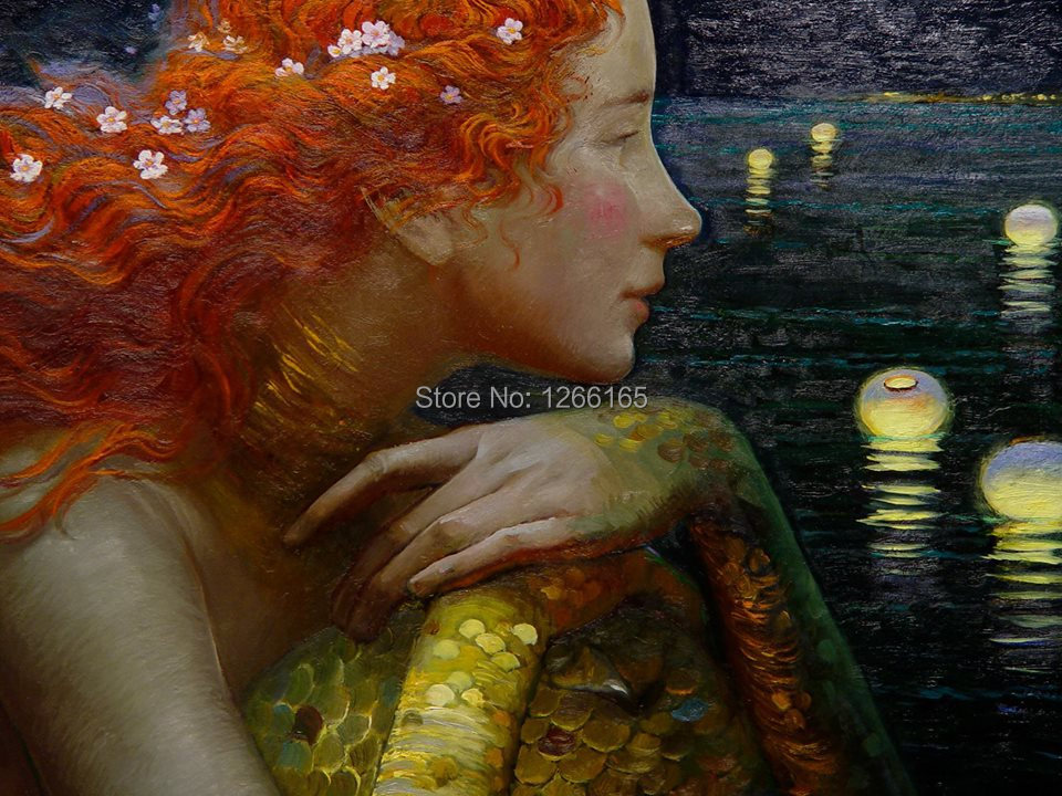 "12/""x16/""Mermaid paints HD Canvas print Painting Home Decor room Picture Wall art"
