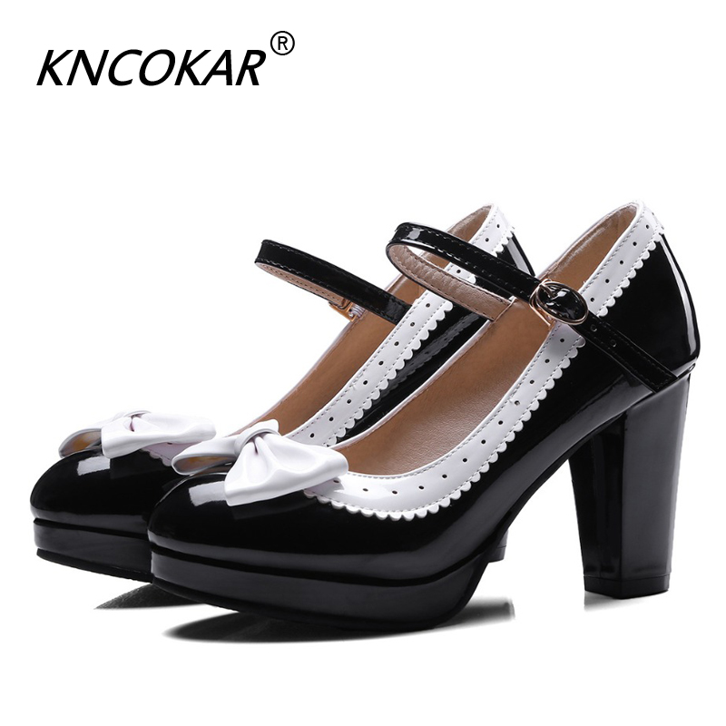 KNCOKAR Spring New Thick Women's Shoes With Round Head Oversized Size Matching Bow-Tie Single Shoes 34-48