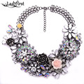 Winter New Fashion Luxury Crystal Flower Clear za Big Brand Party Jewelry Statement Shourouk  Chain Choker Collar Necklace B124