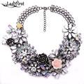 Winter New Fashion Luxury Crystal Flower Clear za Big Brand Party Jewelry Statement Shourouk  Chain Choker Collar Necklace B124