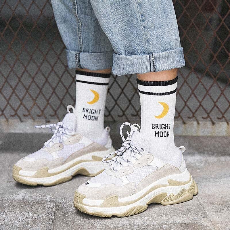 Bright Korean Moon Cotton Socks Harajuku English Letter Sock Woman Socks Fun Hip Hop Skateboard Crew Sokken