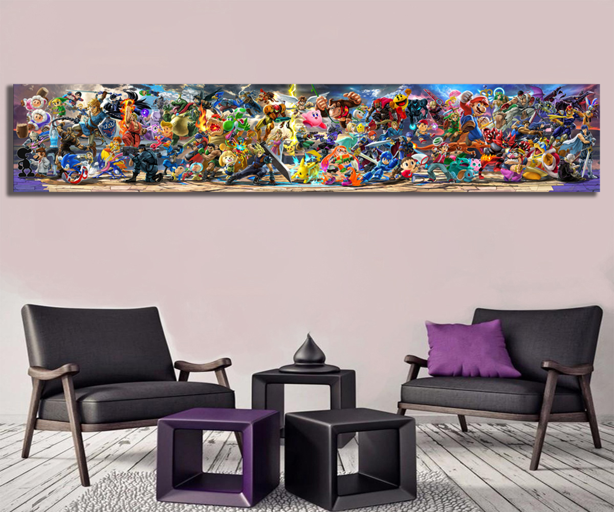 Newest Super Smash Bros Ultimate Update Art Video Game Poster Cartoon Pictures Artwork Canvas Paintings Wall Art for Home Decor 1