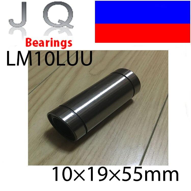 JQ Bearings LM10LUU 10mmx19mmx55mm 10mm linear ball bearing bush bushing for 10mm rod round shaft cnc 1pcs lm3uu linear bearings 3mm linear ball bearing bush bushing