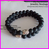 10pcs/lot Black Matte Stone Bead Bracelet with Silver Buddha Head Men Bracelet, Mala Yoga stretch Bracelet